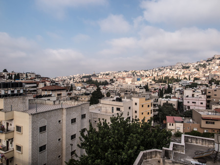 ancient near east: Nazareth, Israel - 11 July, 2015 - City of Nazareth panoramic view, Israel