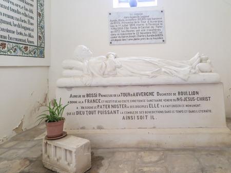 emery: JERUSALEM, ISRAEL - JULY 13, 2015: Tomb of the Princess de la Tour d'Auvergne in Church of Pater Noster (James Emery) in Jerusalem, Israel