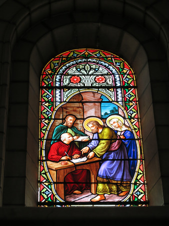 BETHLEHEM, Palestinian Authority, July 12, 2015: Carmelite convent on the Hill of David in Bethlehem stained-glass window visible from the inside Editorial