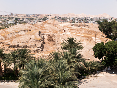 west bank: Jericho is a Palestinian city located near the Jordan River in the West Bank. It is the administrative seat of the Jericho Governorate. Jericho is the oldest city of the world. Stock Photo