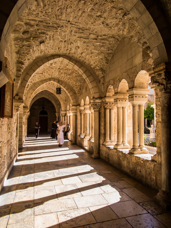 lord's: BETHLEHEM, ISRAEL - JULY 12, 2015: The gothic corridor of atrium at St. Catharine church Editorial