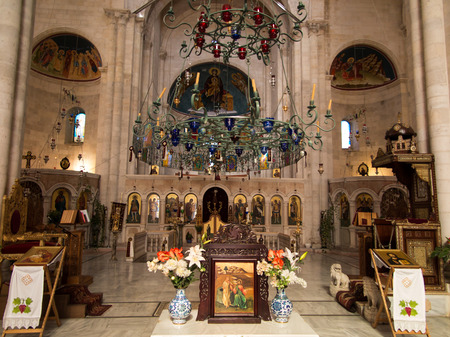 Sychar, Israel, July 11, 2015.: The interior of the church in Sychar in Samaria with the image of Jesus with the Samaritan woman at the well. Editorial