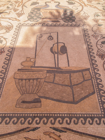 nablus: Sychar, Israel, July 11, 2015 .: Mosaic on the floor in a modern Greek Orthodox convent in Shechem Sychar, Nablus in the West Bank where is the biblical Jacobs Well,