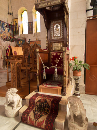 Sychar, Israel, July 11, 2015.: Fragment of a Greek orthodox church interior in place of the biblical Jacobs well in Sychar in Samaria. Jacobs Well is where Jesus asked the Samaritan woman for a drink and offered her living water (John 4: 5-42). Editorial