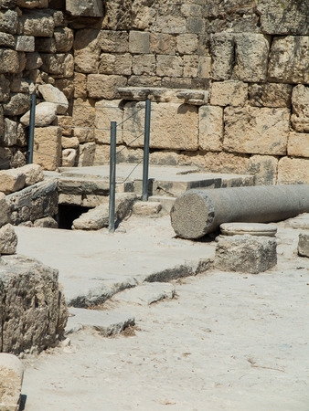 excavations: Sebastian, ancient Israel, ruins and excavations in the Palestinian territories. Smaria. Entrance to the first tomb of St. John Stock Photo