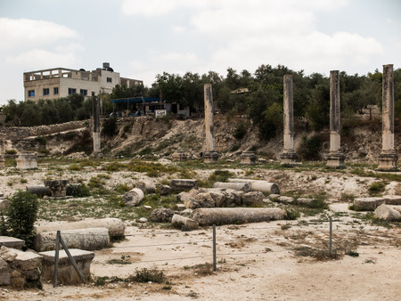 nablus: Sebastia, ancient Israel, ruins and excavations in the Palestinian territories. Smaria