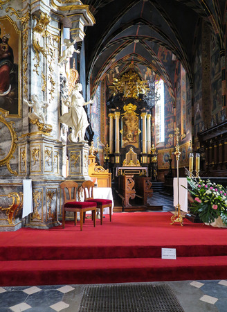 tabernacle: SANDOMIERZ, POLAND 16 October, 2015 : The interior of the cathedral basilica of the Nativity of the Blessed Virgin Mary in Sandomirzu, Poland Editorial