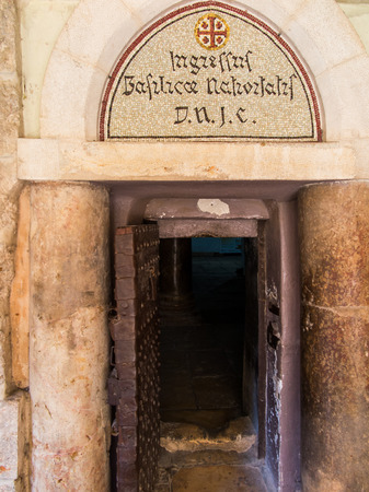old church: Side door of the Basilica of the Nativity in Bethlehem, Israel