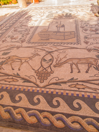 nablus: Sychar, Israel, July 11, 2015.: Mosaic on the floor in a modern Greek Orthodox convent in Shechem (Sychar, Nablus in the West Bank) where is the biblical Jacobs well,