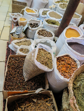 herbs boxes: condiments, spices, herbs in bags and boxes put up for sale as a backdrop, Nazareth Stock Photo