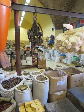 herbs boxes: Nazareth, Israel, July 8, 2015 .: Interior colonial shop Elbabour  in Nazareth: spices, grains, sweets, roots, herbs in bags and boxes put up for sale. Israel