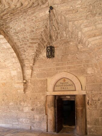 jezus: Side door of the Basilica of the Nativity in Bethlehem, Israel