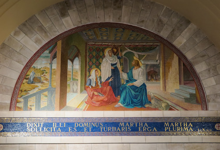 Betania, Israel July 14, 2015: Mosaic. Bethany Church in commemorating the home of Mari, Martha and Lazarus, Jesus' friends as well as the tomb of Lazarus. Israel