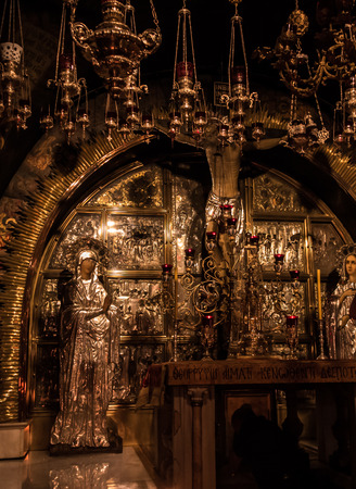 holiest: JERUSALEM - Juli 15:  Stone of the Anointing of Jesus in the Holy Sepulchre, the holiest place of Christians, Juli 15, 2015. Jerusalem, Israel Editorial