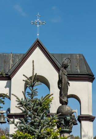 czestochowa: Statue of Virgin Mary in front of the sanctuary in Lesniow near Czestochowa in Poland Stock Photo