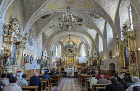 christian altar: LESNIOW, POLAND - 01 May 2016: Interior of church in Leśniów Sanctuary. Lesniow sanctuary is holy place in Poland a place of blessing. Editorial