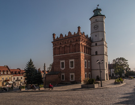 polska monument: Anchor and chain disappearing into the sky. Central Square. Sandomierz. Poland Stock Photo