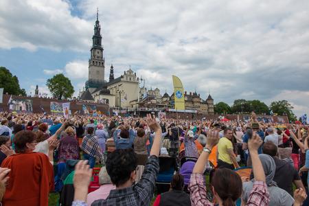 vigil: CZESTOCHOWA, POLAND - May 21, 2016: Vigil Catholic Charismatic Renewal meeting Czestochowa Poland, in front of Jasna Gora, Anniversary, May 21, 2016,