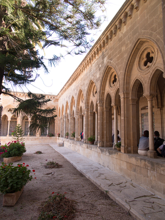 lord's: JERUSALEM, ISRAEL - JULY 13, 2015: The gothic corridor of atrium in Church of the Pater Noster on Mount of Olives. Israel