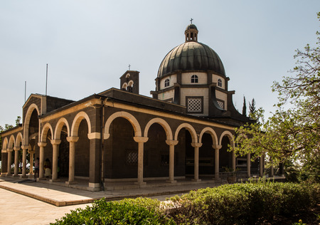 Catholic chapel on Mount of Beatitudes near Tabgha at the Sea of Galilee, Israel Imagens