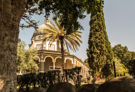 catholic chapel: Catholic chapel on Mount of Beatitudes near Tabgha at the Sea of Galilee, Israel Stock Photo