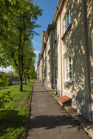 multifamily: The historic settlement of railwaymen Dyrekcja in Chelm, near Lublin in Poland. Stock Photo