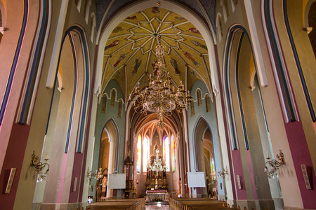 Sokolow Malopolski, Poland - June 9, 2016: The image of Mary in the crowns of the Shrine of Our Lady Queen of the World - Nursing Human Roads Sokolow Malopolski in the Church of St. John