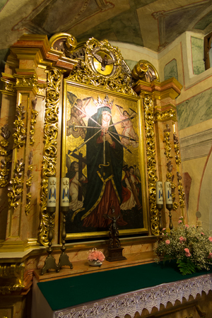 our lady of sorrows: Staniatki, Poland - June 9, 2016: The historic convent, the nuns of the Benedictine abbey, the image of Our Lady the Seven Sorrows.