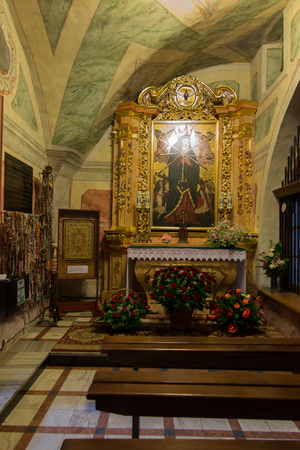 nuns: Staniatki, Poland - June 9, 2016: The historic convent, the nuns of the Benedictine abbey, the image of Our Lady the Seven Sorrows.