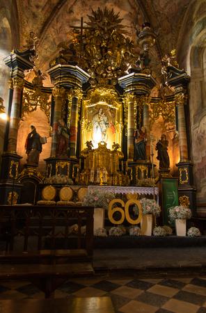 benedictine: Staniatki, Poland - June 9, 2016: The historic convent, the nuns of the Benedictine abbey, interior of the church.