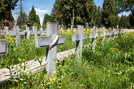 The graves of soldiers killed in the Polish-Soviet war from 1919 to 1920 in the cemetery in Chelm in eastern Poland