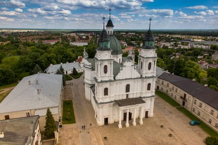 The view from the bell tower of the Basilica of the Virgin of Our Lady of the city Chelm in eastern Poland 版權商用圖片