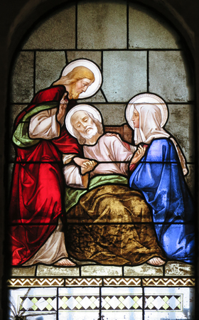 st  joseph: NAZARETH, ISRAEL-July 08, 2015: Marriage of St. Joseph and Mary, stained glass window of the Church of St. Joseph in Nazareth, Israel