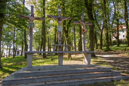 calvary: Crosses Jesus and the two thieves on Calvary. International Shrine of St. Anne, Mount St. Anna, Poland