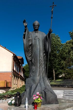 Mount St. Anna, Poland - July 7, 2016: Statue of Pope John Paul II in the Mount St. Anna in Poland. Editorial