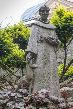 st  francis: Mount St. Anna, Poland - July 7, 2016: figure of St. Francis in the Franciscan monastery on Mount St. Anna in Poland Editorial