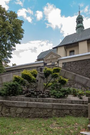 monastery nature: Mount St. Anna, Poland - July 7, 2016: figure of St. Francis in the Franciscan monastery on Mount St. Anna in Poland Editorial