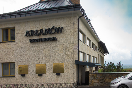 laureate: Arlamow, Poland -July 18, 2016: Hotel Arlamow  with plaque commemorating the internment in this place, in 1982, Lech Walesa president SOLIDARITY, and Nobel Peace Prize laureate and President Polish