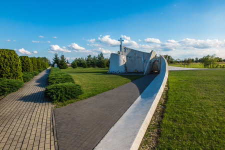 bl: Zabawa, Poland - July 20, 2016:  Monument to the Victims of Accidents and Disasters Communication and Violence at the Sanctuary of Bl. Carolina in Zabawa near Krakow Editorial