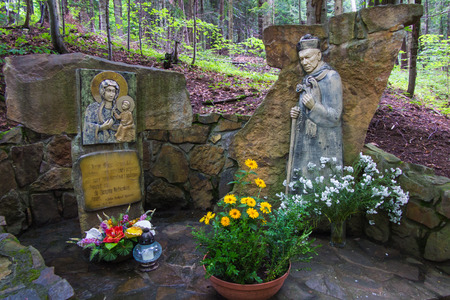 interned: Komancza, Poland - July 20, 2016: Chapel of Mary and the figure of the Polish primate, Cardinal Wyszynski the woods next to the convent of the Sisters of Nazareth in Komancza. From 1955 to 1956, the monastery was interned Cardinal Stefan Wyszynski