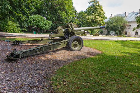 wheel barrel: old military cannon in front of the museum in Dukla in Poland Stock Photo