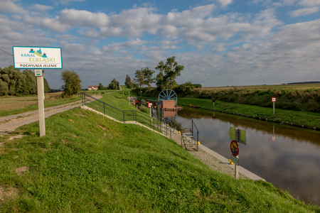 The historic canal Elblag. The ramp Jelonki in the duct for transporting boats by land between one degree (level) of the next Stock Photo