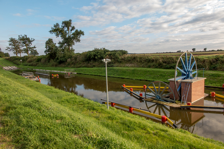 warmia: The historic canal Elblag. The ramp Jelonki in the duct for transporting boats by land between one degree (level) of the next Stock Photo