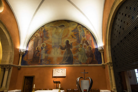 revelation: Paray Le Monial, France - September 13, 2016: Inside, mosaic in the chapel of the revelation of Jesus Margaret Mary Alacoque. Very important place for Catholics