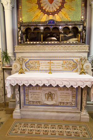 catholic nuns: Paray-Le-Monial, France - September 13, 2016, the Relics of St. Margaret Mary Alacoque in the chapel in which Jesus appeared to her and revealed the truth of his heart.