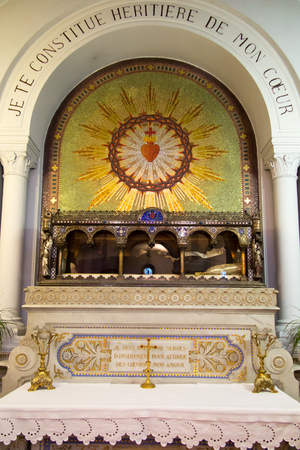 Paray-Le-Monial, France - September 13, 2016, the Relics of St. Margaret Mary Alacoque in the chapel in which Jesus appeared to her and revealed the truth of his heart.