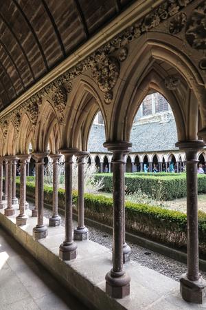 mont saint michel: Mont Saint Michel, France - September 8, 2016: Cloister garden in Mont Saint Michel abbey in France Editorial