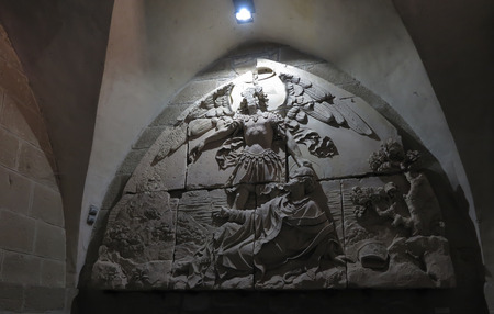 Mont Saint Michel, France - September 8, 2016, Benedictine Abbey of Mont Saint-Michel in Normandy, France. Old bas-relief on the wall. Éditoriale