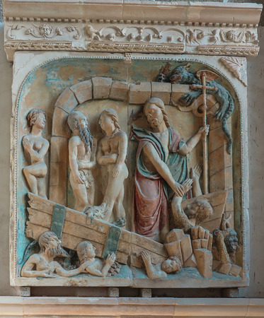 mont saint michel: Mont Saint Michel, France - September 8, 2016, Benedictine Abbey of Mont Saint-Michel in Normandy, France. Old bas-relief on the wall. Editorial