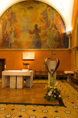 revelation: Paray Le Monial, France - September 13, 2016: Inside the chapel of the revelation of Jesus Margaret Mary Alacoque in Paray Le Monial, France,